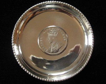 1917 King Emperor George V Indian One Rupee Sterling Coin Dish