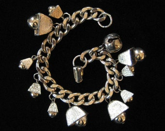 Charm Bracelet with Bells, Light Gold Color