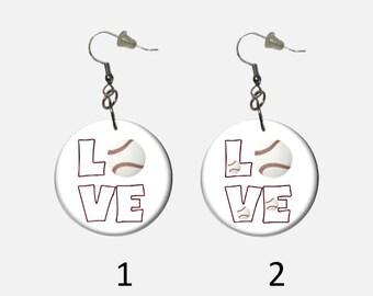 Love Baseball Dangle Earrings Choose Multiple Baseballs or Single Baseball Sports Earrings Totally Unique to HotDogCrafts