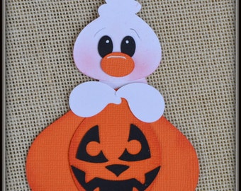 Ghost and Pumkin Halloween premade scrapbooking embellishment Paper Piecing set