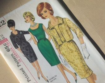 Vintage One-Piece Dress and Jacket Pattern / Size 18 / UNCUT