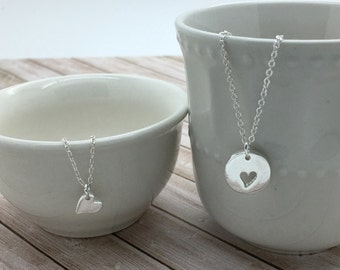Mother Daughter Necklace set, layering Heart Necklaces, Tiny Silver or gold Heart & cut out heart, gift for daughters, gift for mother
