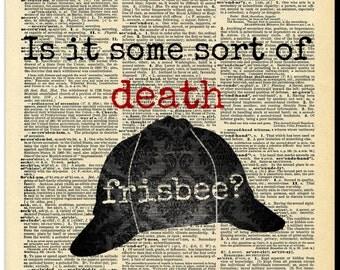 Buy Any 2 Prints get 1 Free Death Frsibee Sherlock Holmes Vintage Dictionary Art