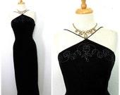 Black Velvet Dress 80s Maxi Spaghetti Strap Beaded Open Back Vintage Evening Glam Party Gown Medium