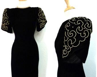 80s Black Velvet dress Gold Brass Studded Embroidery Evening Gatsby dress M/L