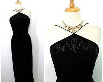 80s Black Velve tMaxi  Dress Spaghetti Strap Beaded Open Back Cocktail Evening Retro dress Medium