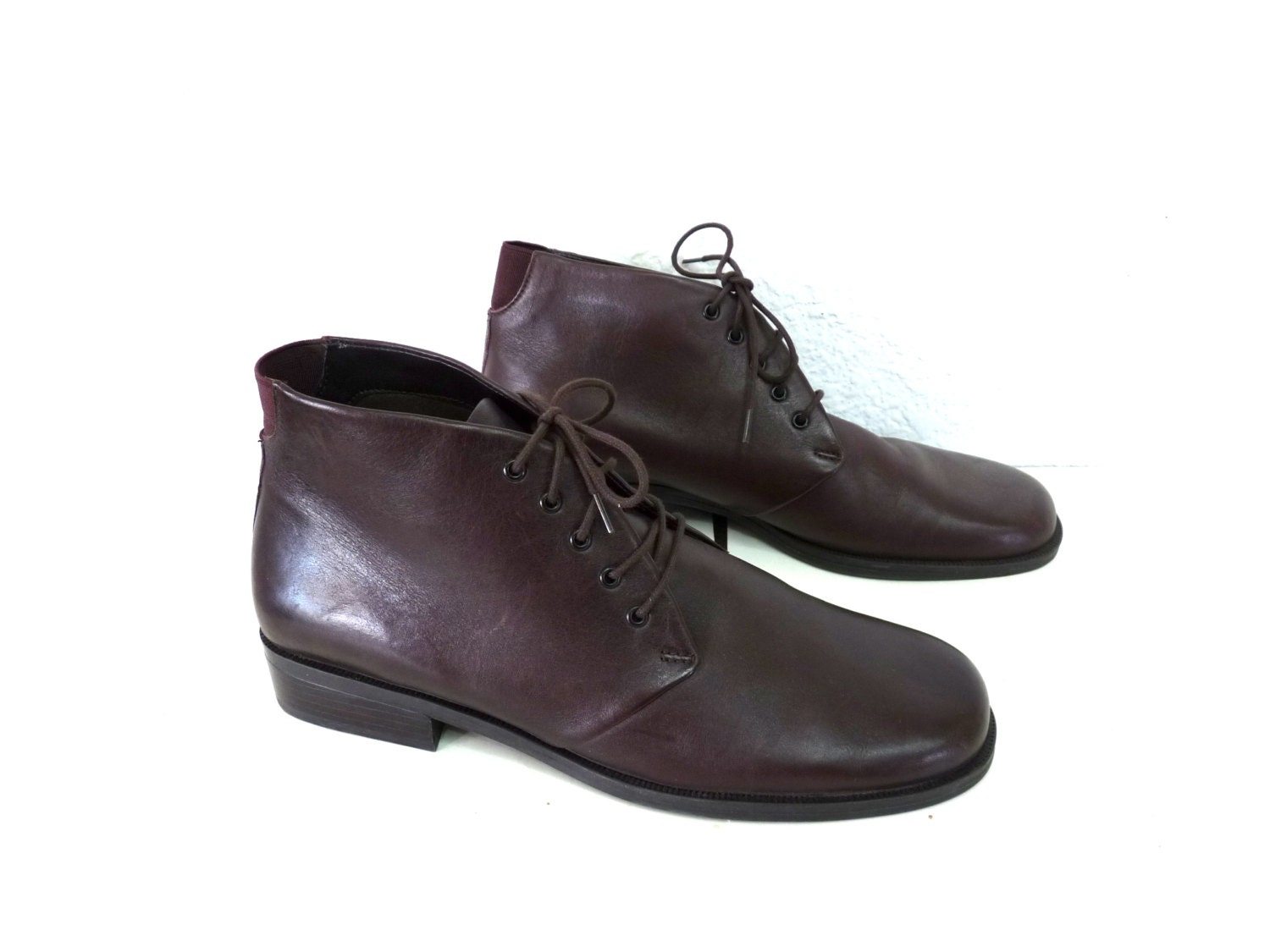 vintage brown leather boots ankle lace up womens size 7 5
