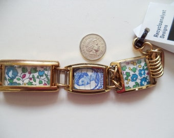 Upcycled Watches and The Queen Postage Stamps Bracelet,Liberty of London Fabric and Stamps Bracelet,Watches and Stamps Bracelet
