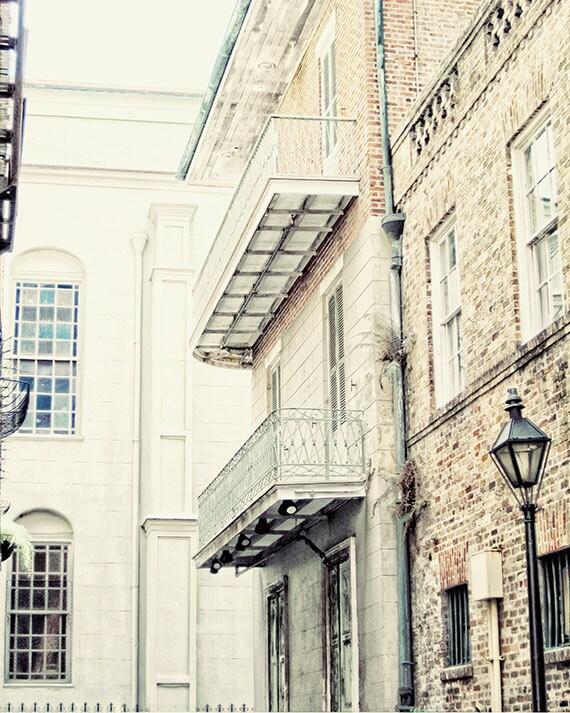 "New Orleans Art French Quarter Photograph.  ""Cabildo Alley"" Print. Mardi Gras. Cream, Brown, Green, Travel. 8x10, 11x14, 16x20, 20x24, 24x30"