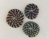 Lampwork Glass Coiled Cane Flat Discs - 3 discs