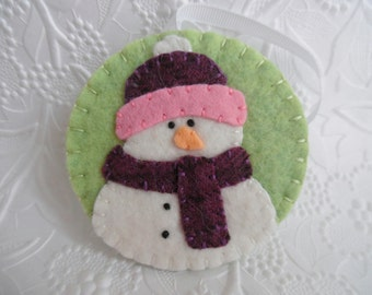 Snowman Ornament Felt Scarf Hat Purple Penny Rug Primitive Christmas Decoration