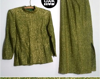 The Most Perfect Beatnik Party Host Outfit - Flowy and FAB! Green & Gold Lame Vintage 70s Skirt and Shirt Set!