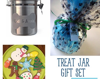 Dog Treat Jar WITH TREATS Gift Set - Engraved Personalized with Name in Bone - Stainless Steel - Dog Treats - Christmas Cookies