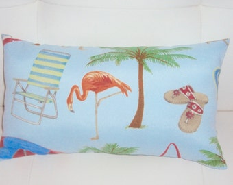 FREE SHIPPING 15x8 Indoor Outdoor  Blue Tropical Beach Print Lumbar Pillow