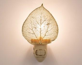 Real Aspen Leaf Dipped In 24k Gold  Nightlight  - 24k Gold Leaves