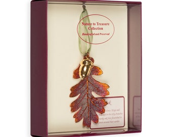 Real Oak Leaf Dipped In Iridescent Copper With 24k Gold Acorn Double Ornaments - Real Dipped Leaves - Christmas Ornaments