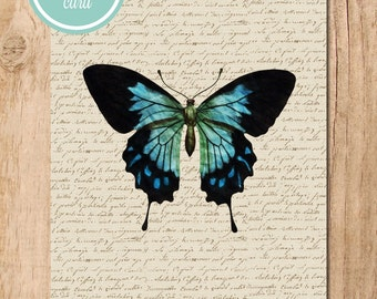 Book Page Blue Butterfly Printable Art