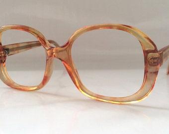 80s Vintage Clear Coral Stripe Pattern Eyeglasses