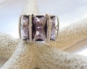 Vintage Sterling Silver 925 Modern Bold 40ct Amethyst Cocktail Statement Ring