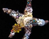 Vintage Jewelry Bronze Starfish - Jewelry Wall Art - Beach Home Decor - Seaside Starfish