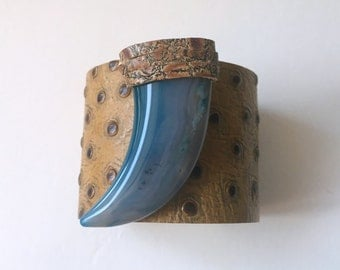 "leather cuff bracelet  - brown embossed leather with blue agate horn - 2"" wide"