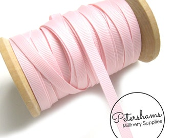 20m Roll of 7mm Wide Grosgrain Ribbon for Crafts, Millinery - Light Pink