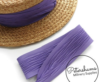 Wrap Around Puggaree Ribbon Hat Band for Hat Making / Millinery -  Purple