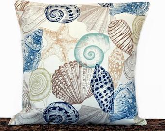 Seashells Pillow Cover Outdoor Cushion Coastal Navy Blue Brown Tan Beige Aqua Lime Green Starfish Beach Decorative 18x18