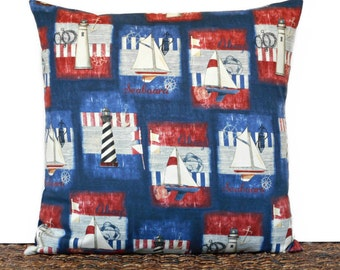 Sailboats Pillow Cover Cushion Nautical Coastal Navy Blue Red White Lighthouses Anchors Stripes Fourth of July Americana Decorative 18x18