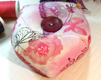 Pincushion, Biscornu -Double sided Pincushion, Pink Butterflies with Emery-Ready to Ship