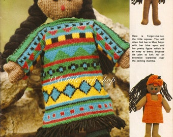 Red Indian squaw doll knitting pattern. Instant PDF download!
