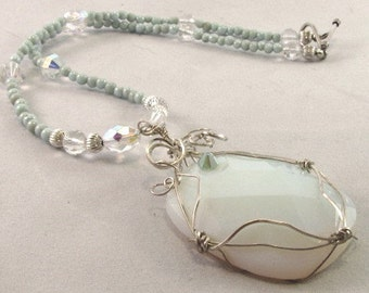Opal Necklace with Wire Wrapped Pendant