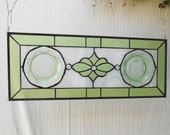 Recycled Depression Glass Stained Glass Window Panel w/Royal Lace Plates, Handmade Window Treatment, OOAK Glass Art, Antique Window Transom