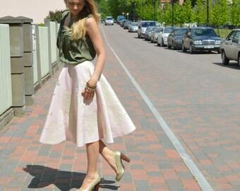 Midi Pink Skirt Royal Floral Midi Long A-line Skirt Spring Fashion