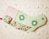 Pretty Hand Tufted Flowers Vintage Chenille Christmas Stocking with Swiss Dot Chenille Cuff and Poinsettia Bow