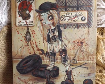 Zombie goth girl mechanic ORIGINAL  fantasy art lowbrow misfit painting big eyes pop surreal -the motor shop
