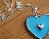 Bright Blue Heart Pendant Charm Necklace with Silver Plated Chain Novelty Gift Valentine's Love Cute Fashion