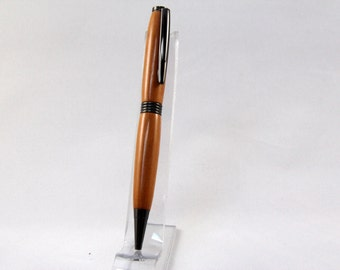 Handmade Gunmetal finished Twist ballpoint pen made from Osage orange wood