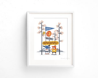 Let's Go on an Adventure! - Giclee of an original illustration (8 x 10in)