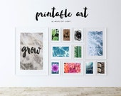 PRINTABLE wall art. Collection of 11 prints 8x10. Modern room decor, marble, water, turquoise, green, pink, black, brown, quotes