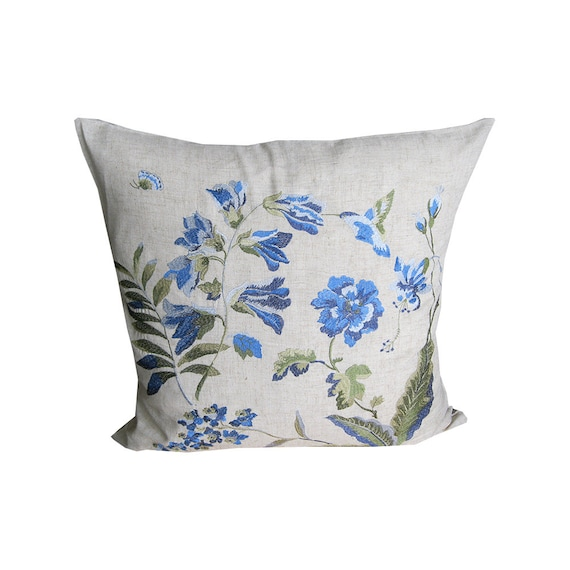 blue and natural pillows covers white pillow by spcustomdrapery. Black Bedroom Furniture Sets. Home Design Ideas
