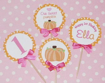 Pumpkin Cupcake Toppers with hearts, polka dots and sweet ribbon bows --24 Total special price