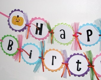 Halloween Birthday Banner for GIRLS Costume Party