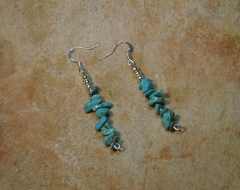 Natural turquoise Gemstone chips 925 Silver Earrings