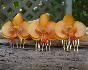 Orchid Flower Hair Combs Set of 3 Sunset Orange, Flower Hair Clips,Floral Hair Accessories,Tropical Beach Wedding,Hawaii,Destination Wedding