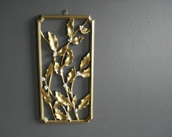 Golden Holly - Vintage Wall Art - Wall Decor - Dart Floral Wall Hanging