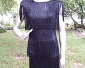 35% OFF 80s Dress in Black Fringe/ Flapper Costume/ Vintage Dress/ Fringe Dress in Black/ Vintage Costume/ 80s Cocktail Dress/ Little Black