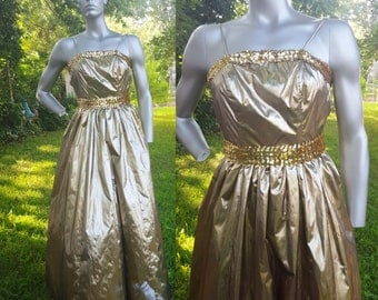 80s Prom Dress in Gold by JC Penney, Vintage Bridesmaid Dress with Sequins, 80s Dress, Vintage Dress, Gold Dress, 80s Costume Size 00