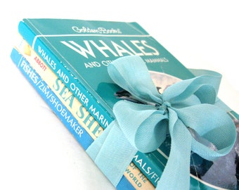 Golden Guide Book Lot, Whales, Sea Shells and Fishes Golden Guide Books, Marine Biology, Marine Life, Oceanography Books, Beach Lover Books