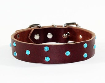 """Leather Dog Collar, Brown Leather Turquoise Dog Collar, 1"""" Brown Leather Dog Collar, Turquoise Leather Dog Collar, Made In Ca"""